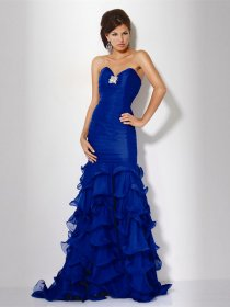 Gorgeous Sweetheart Cascading Ruffle Sheath Chiffon Evening Dress