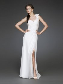 One-shoulder Backless Foor-length Chiffon Evening Dress