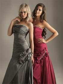 Satin One-shoulder Beads Evening Dress