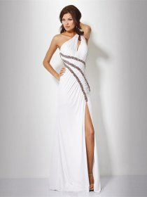 Sheath/Column Beaded Front Open Chiffon Evening Dress