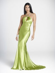 Sheath/Column Green Jewel Floor-length Satin Prom Dress