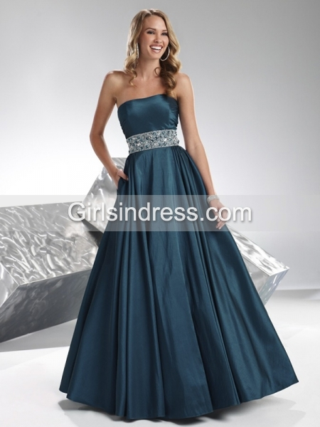 Simple A-line Strapless Satin Ruched Beading Prom Dress