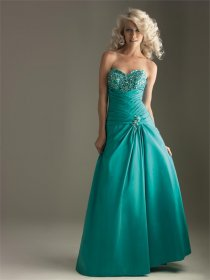 Sweetheart A-line Strapless Floor-length Satin Prom Dress