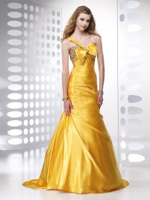 Trumpet One-shoulder Beading Satin Prom Dress