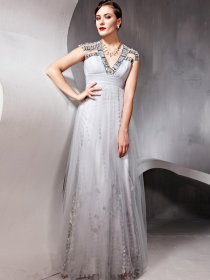 V-neck Cape Sleeve Jewery A-line Chiffon Prom Dress