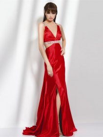 Sexy Sheath Beading Straps Satin Evening Dress