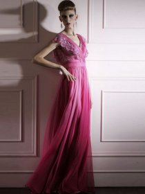 A-line Satin Cape-Sleeve V-neck Embroidery Evening Dress