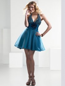 A-line Halter Beading Sexy Organza&Satin Homecoming Dress