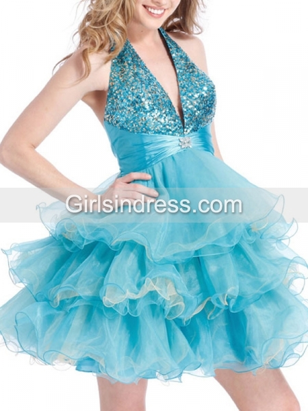 A-line Halter Sequins Organza V-neck Party Graduation Dress