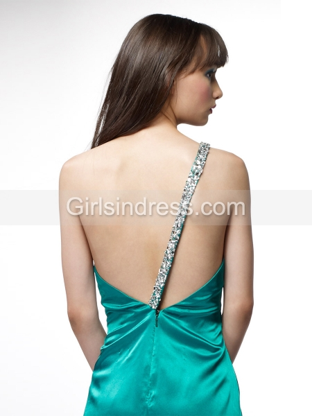 A-line Beading Satin One-shoulder Prom Dress
