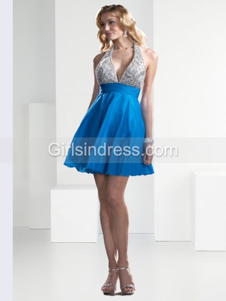 A-line Sexy Halter Beading Satin Cocktail Dress