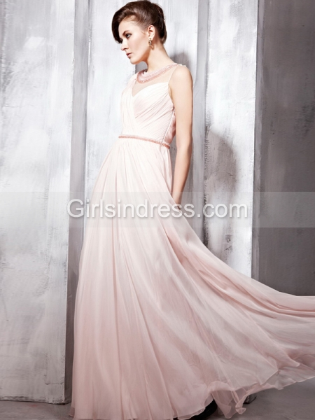A-line Sleevless Organza Floor Beading Length Evening Dress