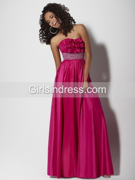 A-line Strapless Ruffled Beading/Crystals Satin Prom Dress