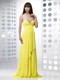 A-line Sweetheart Beading Chiffon Evening Dress