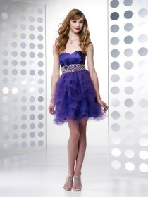 A-line Sweetheart Beading Organza&Satin Cocktail Dress
