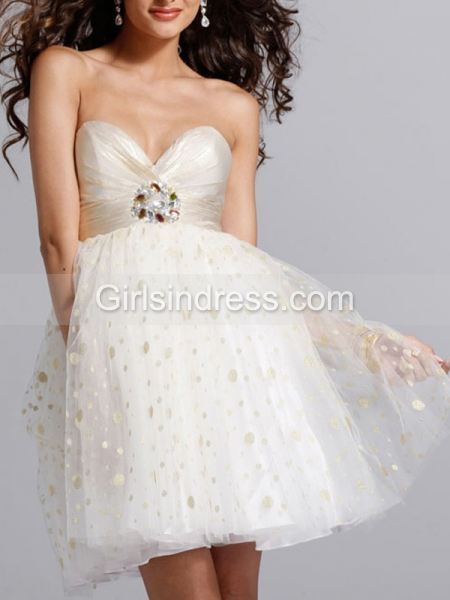 A-line Sweetheart Crystals Organza&Satin Strapless Graduation Dress