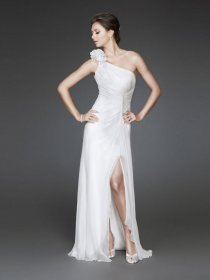 Elegant Backless One-shoulder Chiffon & Satin Evening Dress