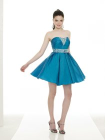 Elegant Beading Satin Short Strapless Cocktail Dress