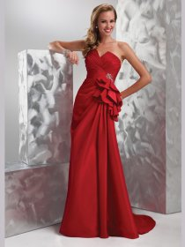 Elegant Red A-line Sweetheart Ruched Satin Prom Dress