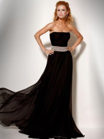 Elegant Strapless A-line Beading Sleeveless Chiffon Prom Dress