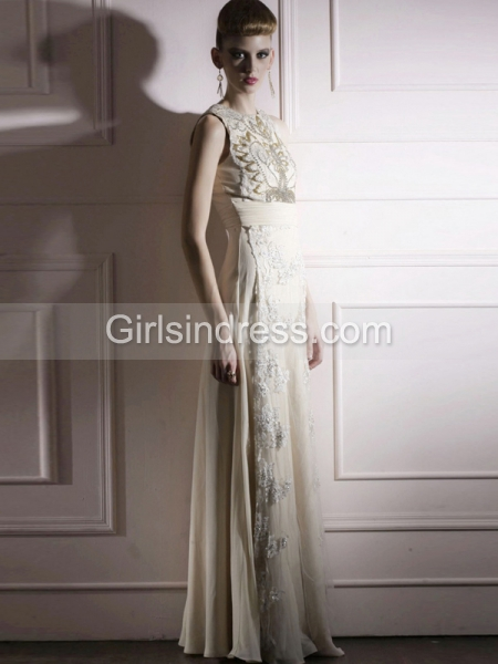 A-line Sleeveless Organza Embroidery Fabulous Evening Dress