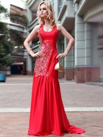 Fabulous Mermaid/Sheath Sleeveless Scoop Embroidery Evening/Prom Dress