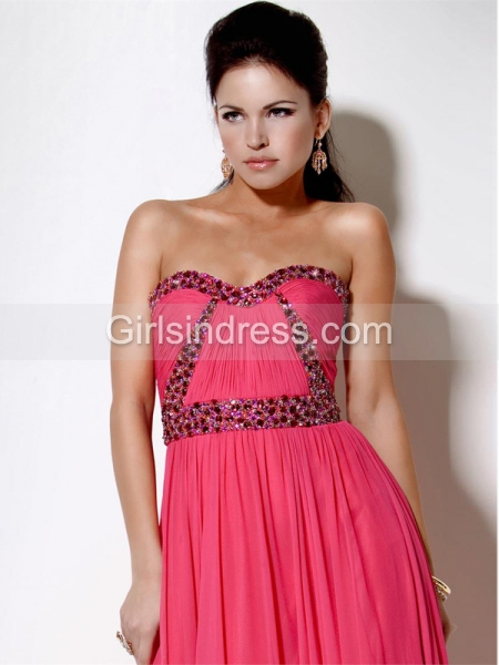 Gorgeous A-line Sweetheart Beading Chiffon Evening Dress