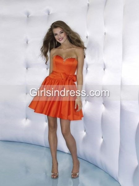 Little Sweetheart Satin Orange Cocktail Dress with Belt