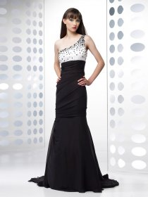 Mermaid One-shoulder Beading Chiffon Evening Dress