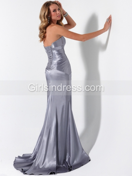 Mermaid/Trumpet Sweetheart Beaded Sleeveless Satin Prom Dress
