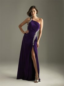 Purple Chiffon Silver Sash Evening Dress