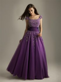 Purple Tulle Over Satin Off-the-shoulder Prom Dress