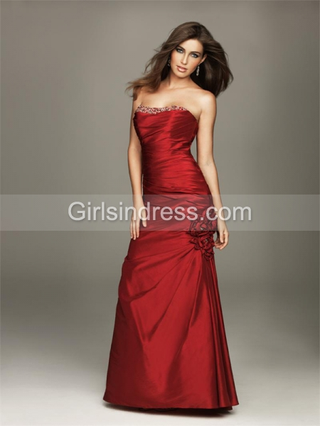 Satin Strapless Floor-length Evening Dress