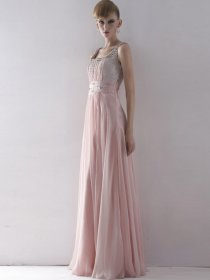 Square Neckline Beaded Straps Chiffon Satin Prom Dress