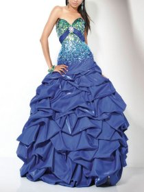 Sweetheart Ruffles Sheath Strapless Sequins Taffeta Prom Dress