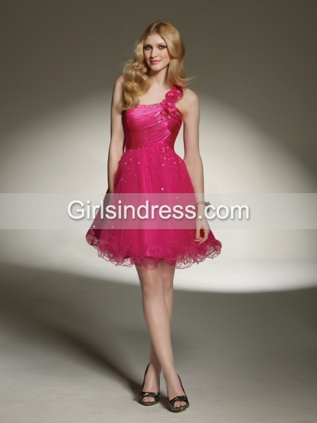 One-shoulder Beading A-line Organza Graduation Dress