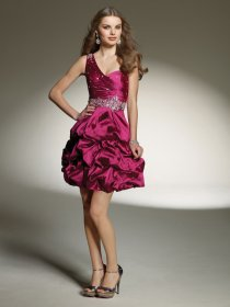 A-line Beaded Satin One-shoulder Homecoming Dress