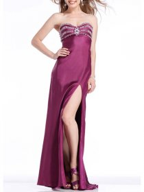 A-line Chiffon Strapless Sweetheart Jewels Evening Dress