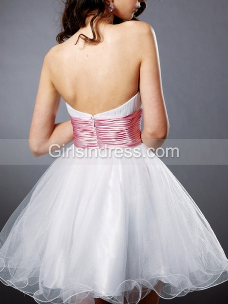 A-line Decorated Strapless Crystals Organza Graduation Dress
