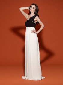 A-line One-shoulder Appliques Chiffon Evening Dress