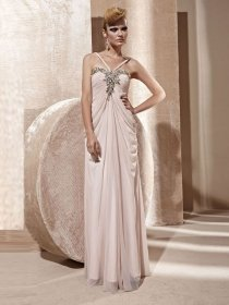 A-line Straps Jewery Spaghetti Oganza Evening Dress