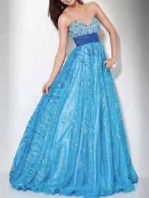A-line Strapless Sweetheart Beading Shiner Prom Dress