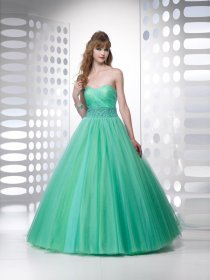 Ball Gown Sweetheart Beading Organza&Satin Engagement Dress