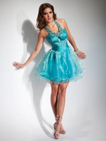 Chic Jewel Satin Organza Beading Homecoming Dress