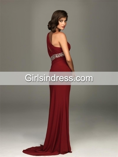 One-shoulder Chiffon Front Open Prom Dress