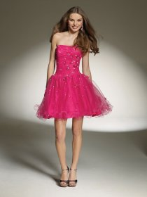 Cute Strapless Beading Organza Short Graduation Dress