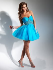 Cute Strapless Sweetheart Satin Organza Beading Graduation Dress