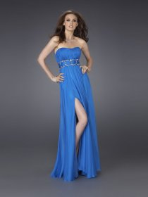 Elegant A-line Crystals Strapless Satin Evening Dress