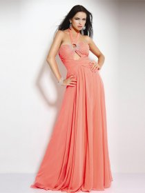 Elegant A-line Halter Beading Chiffon Evening Dress