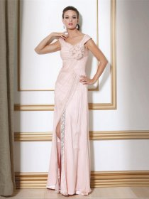Elegant A-line Straps Flowers Sleeveless Chiffon Prom Dress